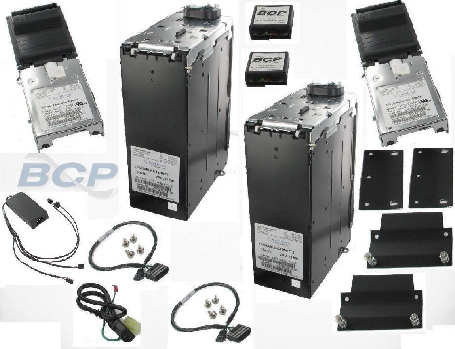 CONVERSION KIT ARMOR SAFE TECHNOLOGIES 2402B MARS TO CASHCODE DUAL BILL ACCEPTORS 1500-NOTE CASH CASSETTES BRACKETS POWER SUPLY AND CABLES.- NEW (BP-AST-991-91) (EA)