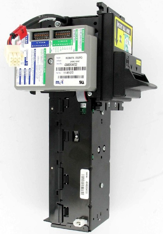 BILL ACCEPTOR RS3942DL FOR FIREKING SAFES 24V LONG BELTS - REBUILT WITH NEW ELEVATOR, MOTORS, ETC.
