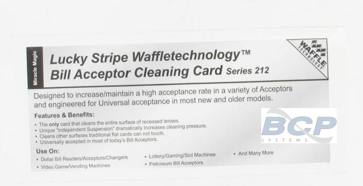 CLEANING PADS FOR JCM UBA AND WBA BILL VALIDATORS (BOX OF 15 EACH) LUCKY STRIPE WAFFLE TECHNOLOGY SERIES 212