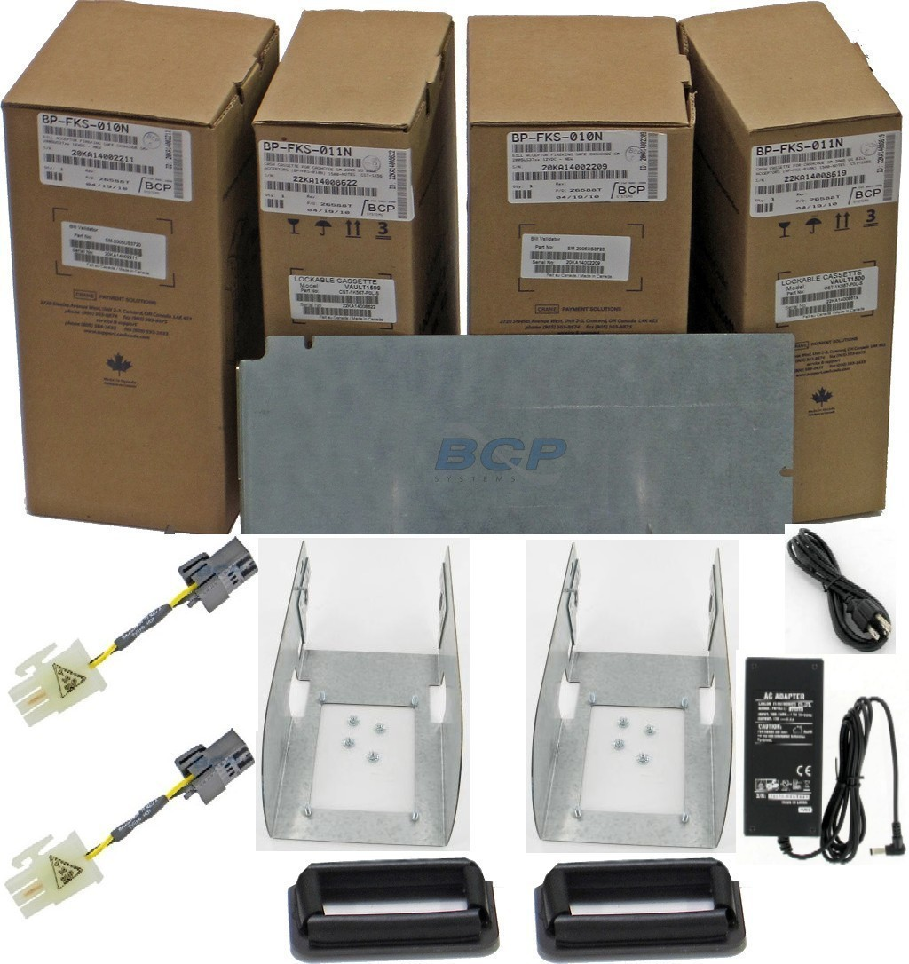CONVERSION KIT FIREKING NKL V2 SAFES, MARS TO CASHCODE DUAL BILL ACCEPTORS, CASH CASSETTES (with locks), POWER SUPPLY, CABLES, BRACKETS AND GASKETS. FOR SAFES WITH ACCESS TO THE BACK. - NEW